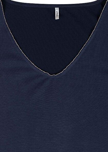 ONLY Damen V-Neck Modal Top mit Schmuckapplikation am Ausschnitt evening navy blau