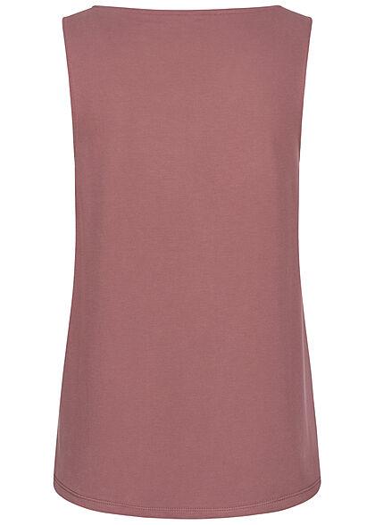 ONLY Damen V-Neck Modal Top mit Schmuckapplikation am Ausschnitt rose braun