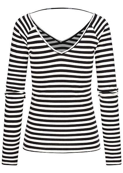 ONLY Damen V-Neck Longsleeve Pullover Streifen Muster schwarz weiss