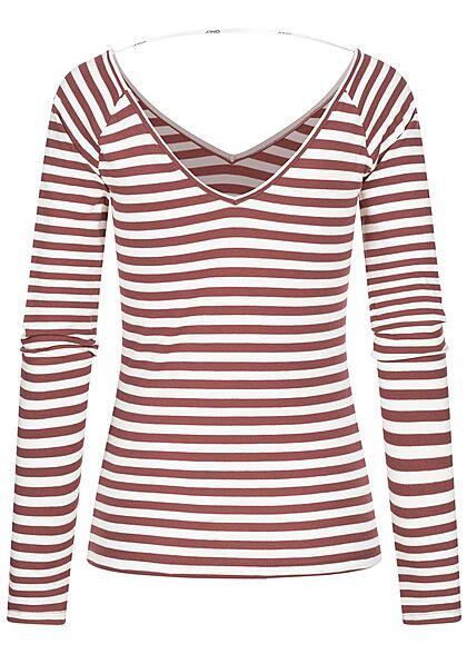 ONLY Damen V-Neck Longsleeve Pullover Streifen Muster rose braun weiss