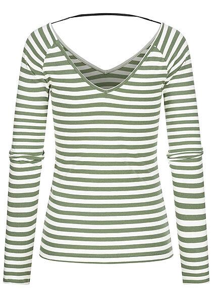 ONLY Damen V-Neck Longsleeve Pullover Streifen Muster sea spray grün weiss