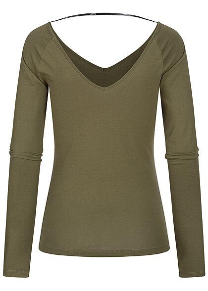 ONLY Damen V-Neck Longsleeve Pullover kalamata oliv grün