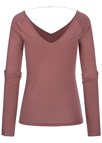 ONLY Damen V-Neck Longsleeve Pullover rose braun