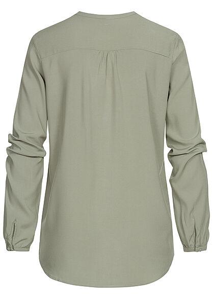 ONLY Damen V-Neck Viskose Bluse mit Knopfleiste Vokuhila shadow dunkel grün