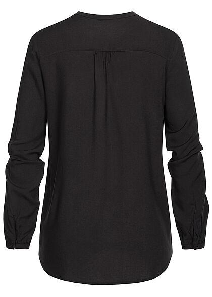 ONLY Damen V-Neck Viskose Bluse mit Knopfleiste Vokuhila schwarz