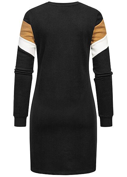 ONLY Damen Arrow Sweat Kleid Colorblock schwarz braun weiss