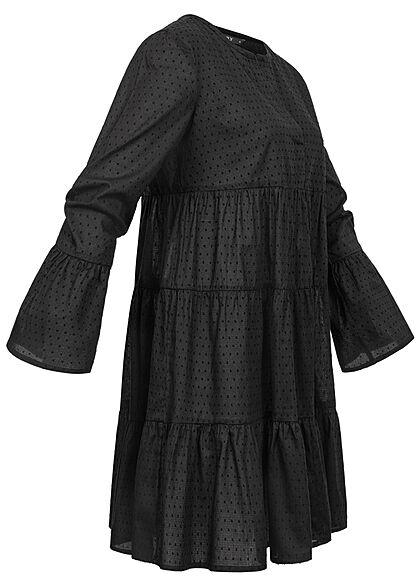 ONLY Damen V-Neck Tunica Stufenkleid mit Pufferärmeln Punkte Muster schwarz