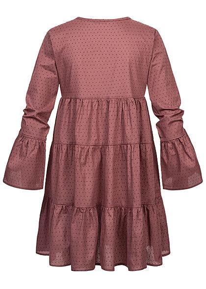 ONLY Damen V-Neck Tunica Stufenkleid mit Pufferärmeln Punkte Muster rose braun