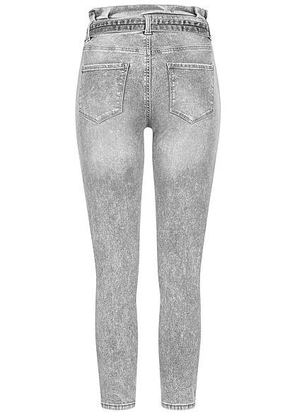 ONLY Damen Skinny Fit  Ankle Paperbag Jeans mit Bindegürtel 5-Pockets hellgrau denim