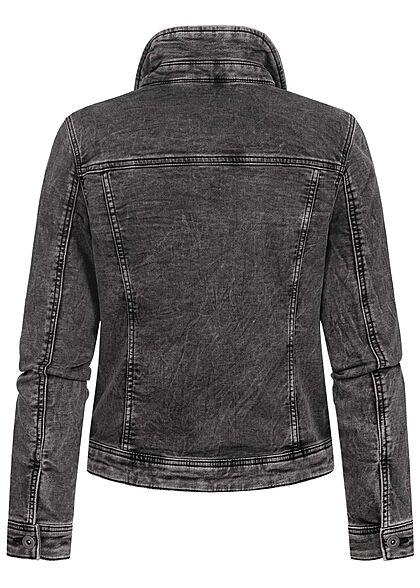 ONLY Damen lockere Jeans Jacke im washed Look 4-Pockets schwarz denim