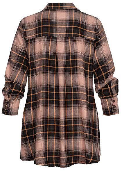 ONLY Damen 3/4 Arm Denim Shirt Hemdbluse Vokuhila Karo Muster schwarz dusty rosa