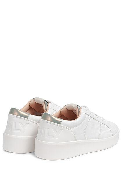 ONLY Damen NOOS Kunstleder Struktur Sneaker zum schnüren weiss