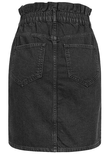ONLY Damen High-Waist Paperbag Jeans Rock 4-Pockets schwarz denim