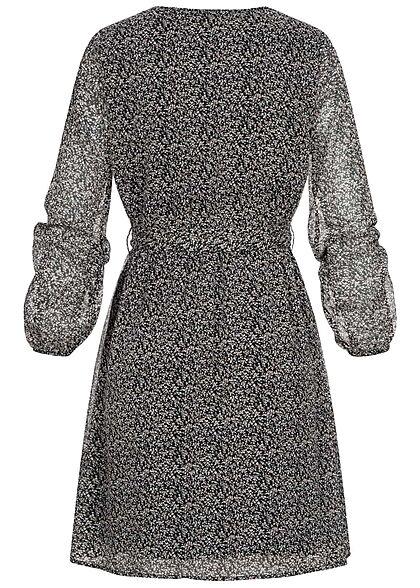 ONLY Damen NOOS 3/4 Arm V-Neck Chiffon Kleid Blumen Print 2-lagig schwarz grau