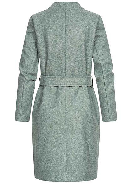ONLY Damen Wickelcoatigan Jacke mit Bindegürtel 2-Pocket Style balsam grün