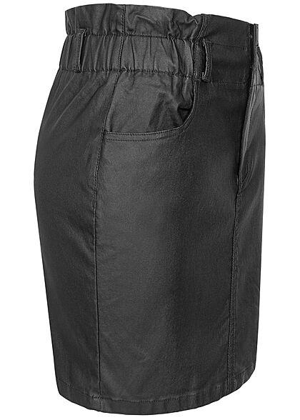 ONLY Damen Paperbag Kunstleder Mini Rock 2-Pockets schwarz
