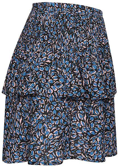 ONLY Damen Mini Plissee Stufenrock Blüten Muster Gummibund campanula blau