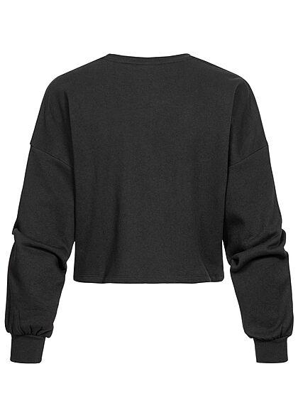 ONLY Damen Cropped Sweater Pullover mit LONDON Print schwarz weiss