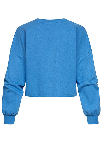 ONLY Damen Cropped Sweater Pullover mit MILANO Print campanula blau weiss