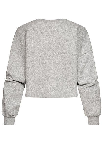 ONLY Damen Cropped Sweater Pullover mit NEW YORK Print hellgrau melange weiss