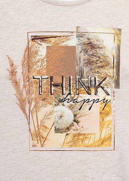 Hailys Damen T-Shirt Think Happy Pailletten mit Herbst Print beige melange kupfer