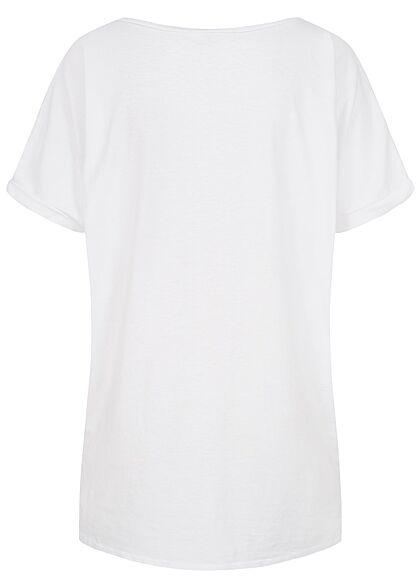 Hailys Damen Oversized T-Shirt mit Fledermausärmeln & Love Print weiss