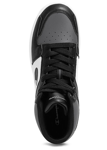 Champion Herren Schuh Mid Cut Colorblock Sneakers zum schnüren schwarz grau weiss