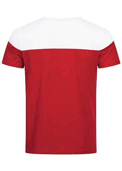 Alpha Industries Herren 2-Tone T-Shirt mit Logo Schriftzug speed rot weiss