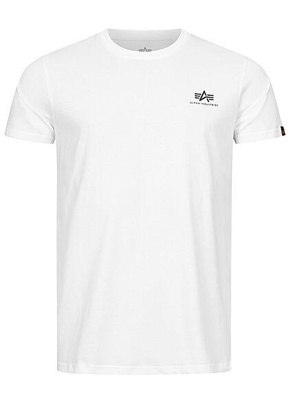 Alpha Industries Herren T-Shirt mit Logo Back Print Camouflage Design weiss