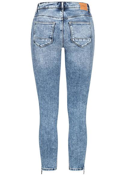 ONLY Damen NOOS Skinny Ankle Jeans Hose 5-Pockets Zipper am Bein Crash-Optik hell med blau