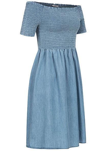ONLY Damen Off-Shoulder Mini Smock Kleid Rüschen am Saum medium blau denim