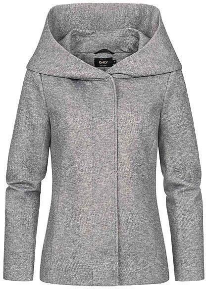ONLY Damen leichte Übergangs Jacke mit drappierter Kapuze hellgrau melange