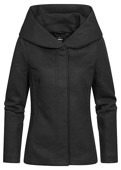 ONLY Damen leichte Übergangs Jacke mit drappierter Kapuze schwarz
