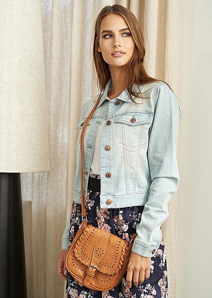 Styleboom Fashion Damen Mini Kunstleder Handtasche ca. 20x23cm camel braun