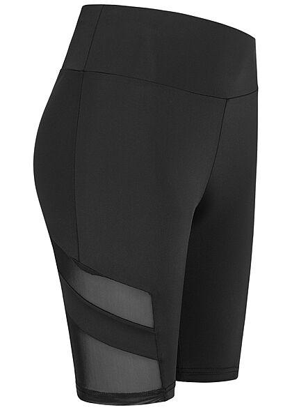 Urban Classics Damen Radler Shorts Mesh Streifen Gummibund schwarz