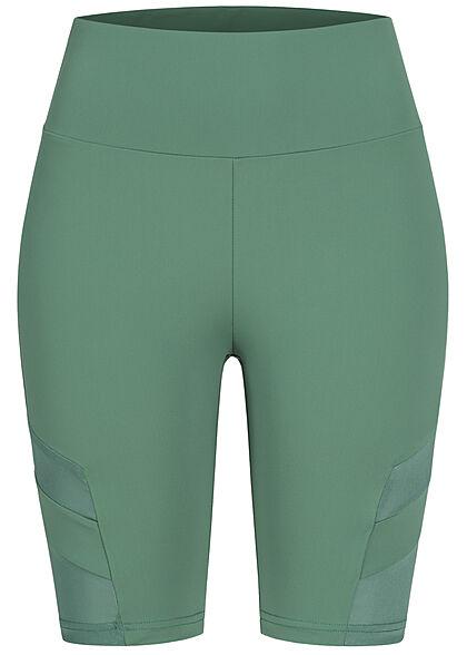 Urban Classics Damen Radler Shorts Mesh Streifen Gummibund paleleaf grün
