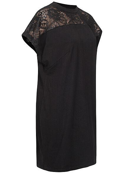 Urban Classics Damen T-Shirt Kleid mit Spitzenbesatz schwarz