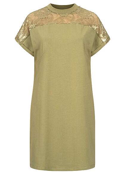 Urban Classics Damen T-Shirt Kleid mit Spitzenbesatz khaki beige
