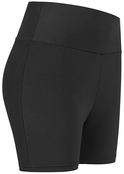 Urban Classics Damen kurze High-Waist Radler Shorts Gummibund schwarz