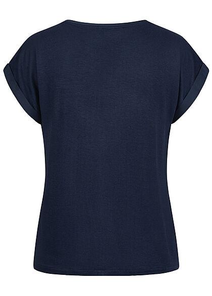 VILA Damen NOOS Satin Blusen Shirt mit Flügelärmeln Materialmix blazer navy blau