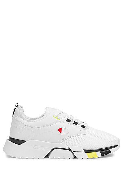 Champion Herren Schuh Low Cut Mesh Sneakers zum schnüren Materialmix weiss schwarz