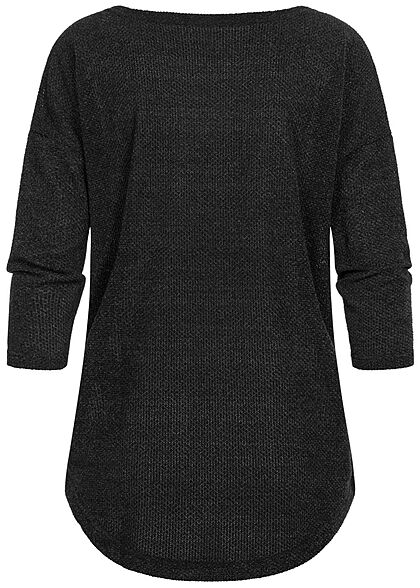 ONLY Damen NOOS 3/4-Arm Struktur Shirt Vokuhila schwarz