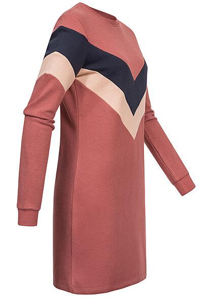 ONLY Damen Arrow Sweat Kleid Colorblock apple butter braun navy rosa