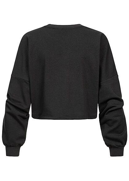 ONLY Damen Oversized Sweater kurzer Pullover Oklahoma Print mit Tunnelzug am Saum schwarz