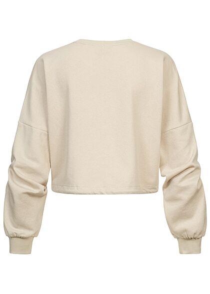 ONLY Damen Oversized Sweater kurzer Pullover Viginia Print mit Tunnelzug am Saum beige