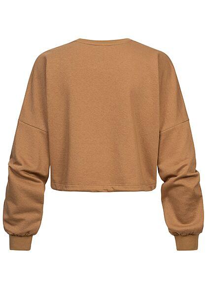 ONLY Damen Oversized Sweater kurzer Pullover Indiana Print mit Tunnelzug am Saum braun