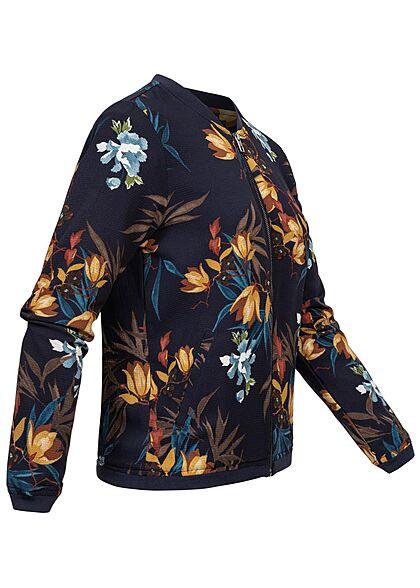 ONLY Damen Blouson leichte Bomberjacke 2-Pockets Floraler Print Strukturstoff navy blau