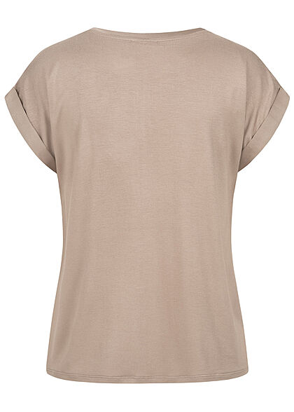 VILA Damen NOOS Satin Blusen Shirt mit Flügelärmeln Materialmix fungi braun