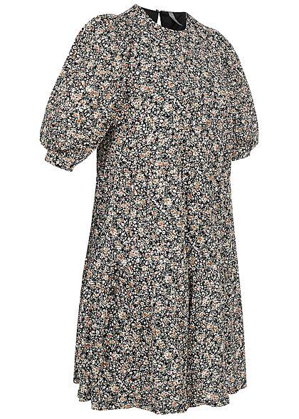 ONLY Damen 1/2-Arm Mini Puffer Kleid Blumen Muster 2-lagig schwarz braun