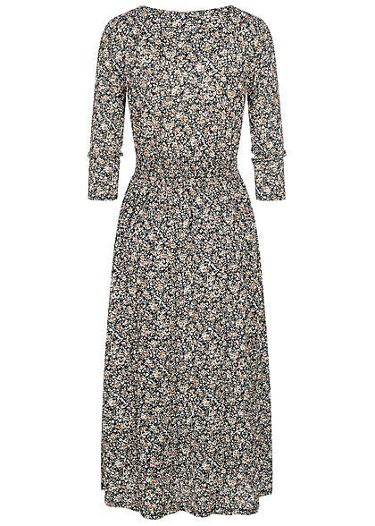 ONLY Damen 3/4-Arm V-Neck Midi Kleid Wickeloptik Blumen Muster schwarz braun